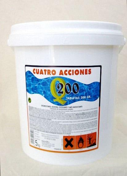 CLORO PISCINAS PASTILLAS BOTE 5 KILOS CUATRO ACCIONES