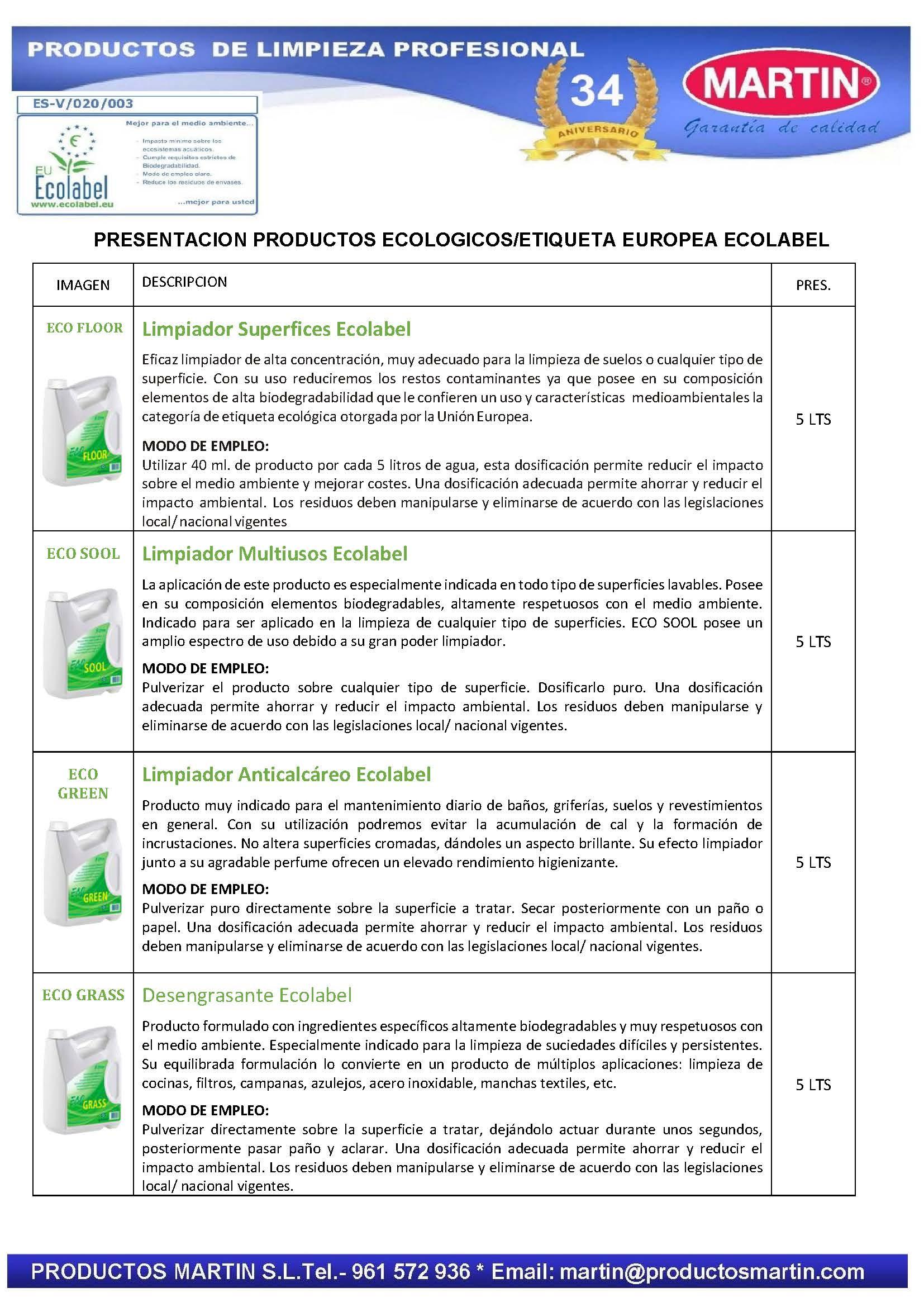 PRODUCTOS DE LIMPIEZA CON ETIQUETA ECOLOGICA ECOLABEL